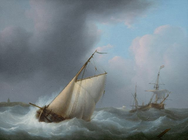 Schouman M.  | Damage off the coast in a storm, oil on panel 29.3 x 38.7 cm, signed l.r. on floating wood