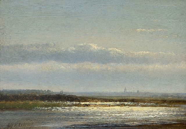 Lodewijk Johannes Kleijn | A river landscape, oil on panel, 17.2 x 24.2 cm, signed l.l.