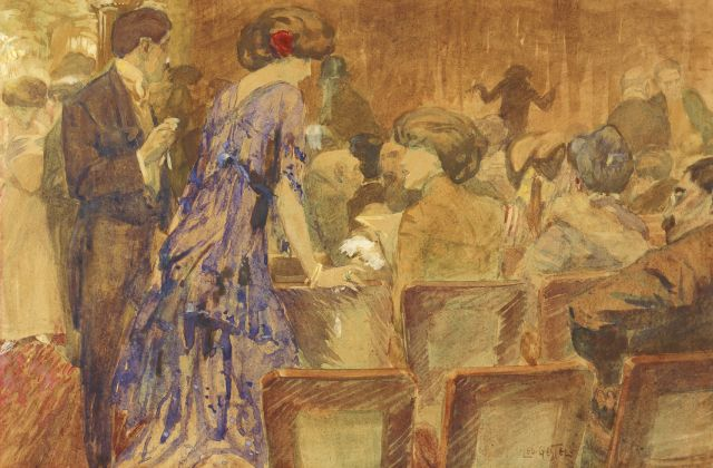 Leo Gestel | The theatre, watercolour on paper, 32.0 x 49.0 cm, signed l.r.