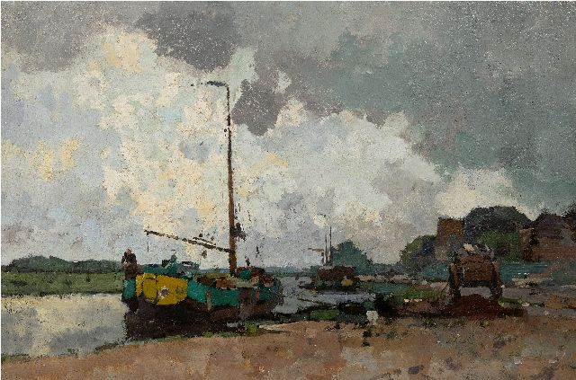 Cornelis Vreedenburgh | Moored peat ships, oil on canvas, 60.2 x 90.5 cm