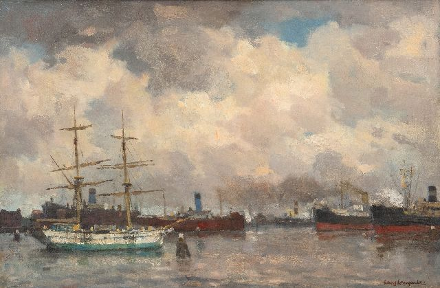 Frans Langeveld | Rotterdam harbour view seen from the Handelskade, oil on canvas, 40.3 x 60.7 cm, signed l.r. and on the reverse