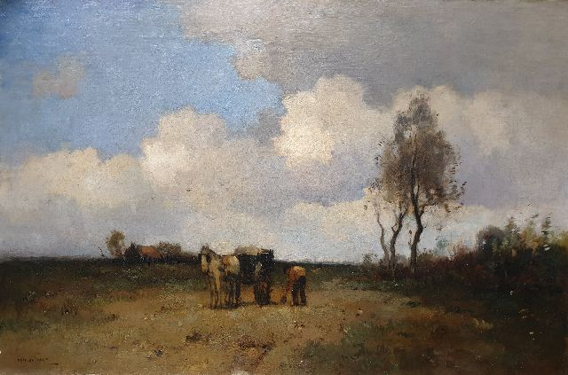 Knikker A.  | A landscape with a farmer digging sand, oil on canvas 50.2 x 74.8 cm, signed l.l.