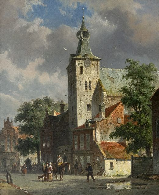 Adrianus Eversen | A view of the Andreas church in Hattem, oil on canvas, 47.8 x 38.7 cm, signed l.r. and on a label on the reverse