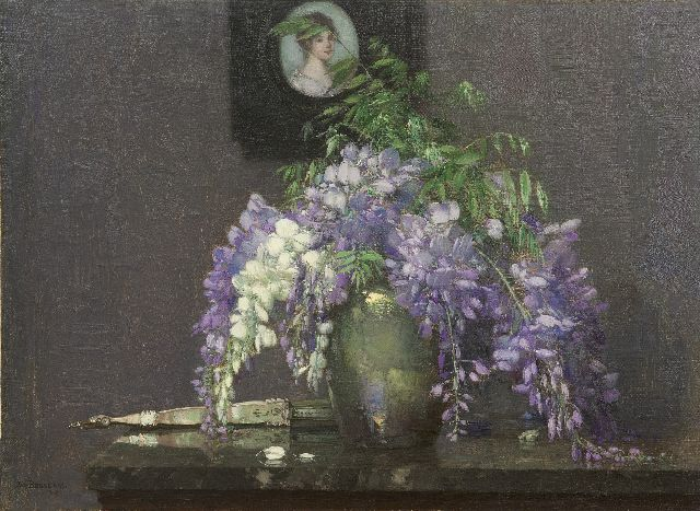 Jan Bogaerts | A still life with Wisteria and a miniature portrait, oil on canvas, 40.3 x 55.1 cm, signed l.l. and dated 1917
