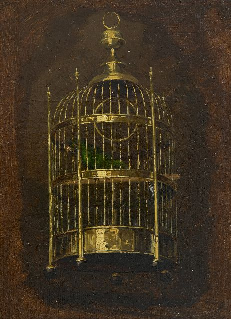 Savrij H.  | The parrot cage, oil on canvas laid down on panel 22.1 x 16.1 cm, signed l.r.