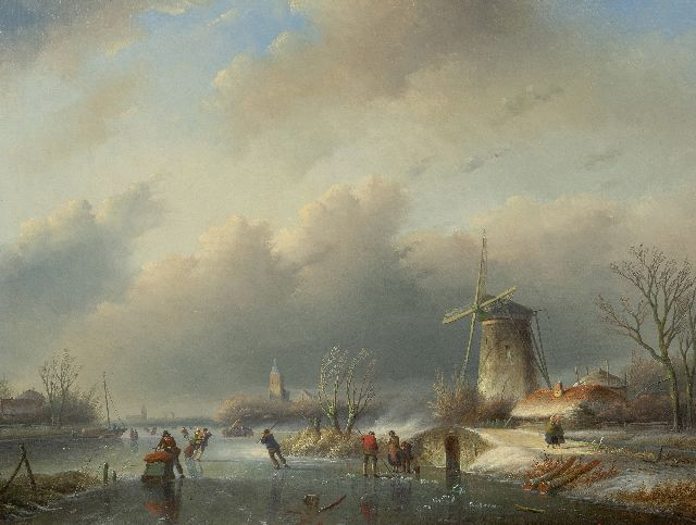 Jan Jacob Spohler | Skaters on ice near a windmill, oil on canvas, 60.2 x 80.0 cm, signed l.l.