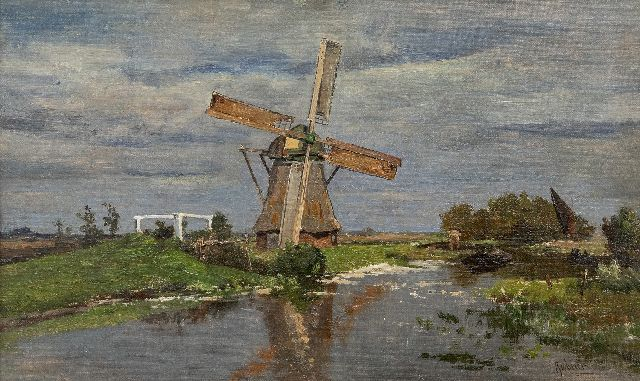 Gabriel P.J.C.  | Windmill near Giethoorn, oil on canvas laid down on panel 32.2 x 54.2 cm, signed l.r.