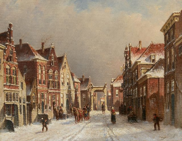 Petrus Gerardus Vertin | A snowy street with a drawbridge (possibly Edam), oil on canvas, 36.3 x 45.5 cm, signed l.r. and dated '86