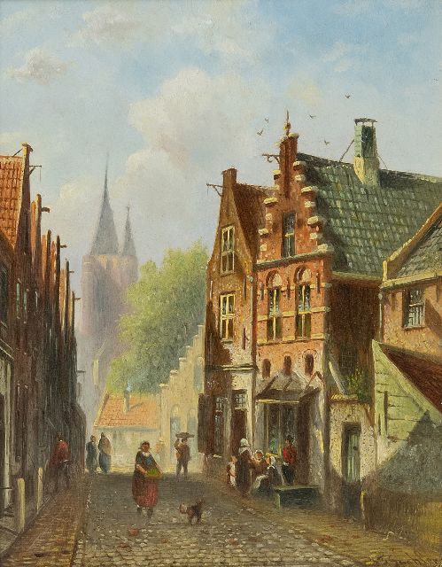 Johannes Franciscus Spohler | A sunlit Dutch street, oil on panel, 18.9 x 14.9 cm, signed l.r.