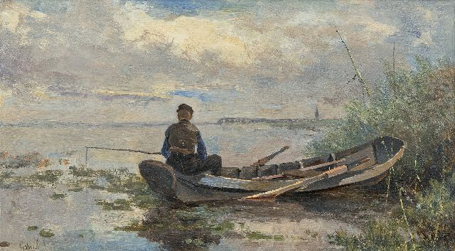 Paul Joseph Constantin Gabriel | Angler in a polder landscape, oil on panel, 18.9 x 32.7 cm, signed l.l.