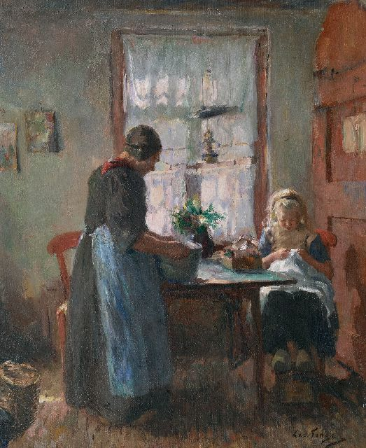 Tonge L.L. van der | Girl at her needelwork in farmhouse interior in Laren, oil on canvas 54.3 x 45.2 cm, signed l.r.