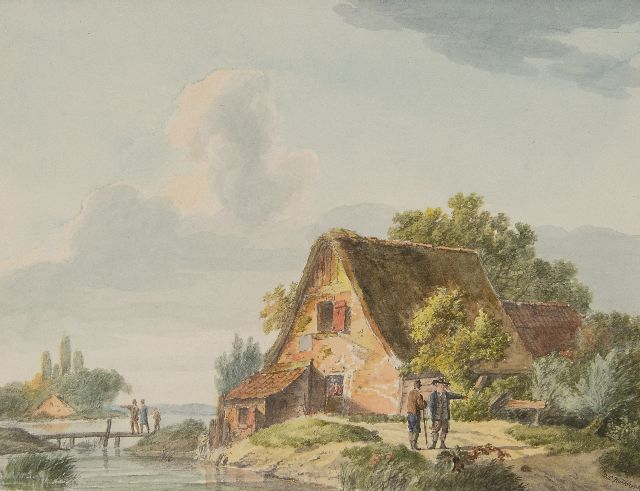 Koekkoek B.C.  | Travellers near a cottage by the river, watercolour on paper 14.7 x 19.4 cm, signed l.r.