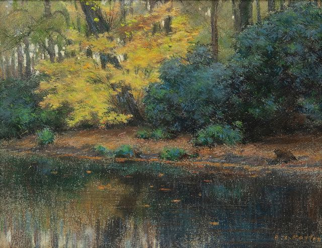 Anton L. Koster | Pond in park Groenendaal, Heemstede, pastel on paper, 23.1 x 29.8 cm, signed l.r.