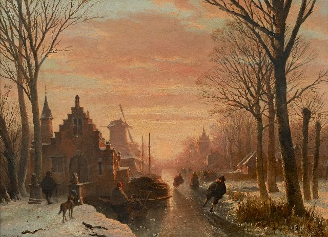 Abraham van der Wayen Pieterszen | Skaters on a frozen town canal at sunset, oil on panel, 43.3 x 59.3 cm, signed l.l.