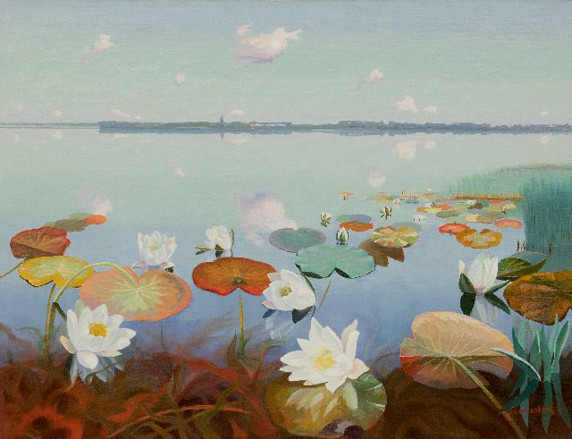 Dirk Smorenberg | Lake near Loosdrecht with water lilies, oil on canvas, 70.2 x 89.9 cm, signed l.r. and dated '24
