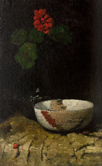 Willem van den Berg | Still life with a bowl and geranium, oil on panel, 63.7 x 40.3 cm, signed u.r.