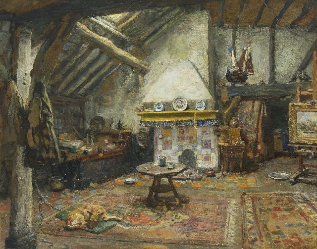 Briët A.H.C.  | The studio of the painter Frans Langeveld, oil on paper laid down on panel 35.2 x 43.7 cm, signed l.r.