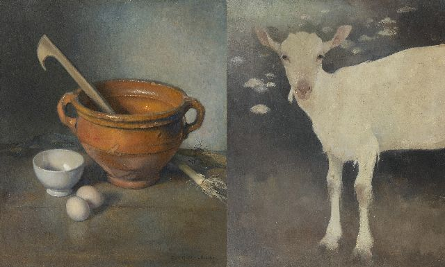 Jemmy van Hoboken | A young goat; A still life with an earthenware bowl, oil on panel, 50.2 x 42.7 cm, signed l.r. and dated '42