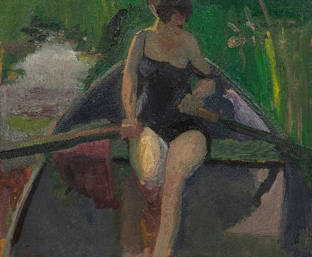 Kuijten H.J.  | The artist's wife (Leni) in a rowing boat on a sunny day, oil on board laid down on panel 37.9 x 45.8 cm, signed l.l. and painted ca. 1928