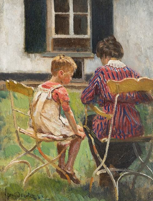 Frans Oerder | Mother and daughter in the garden, oil on panel, 37.1 x 28.5 cm, signed l.l.