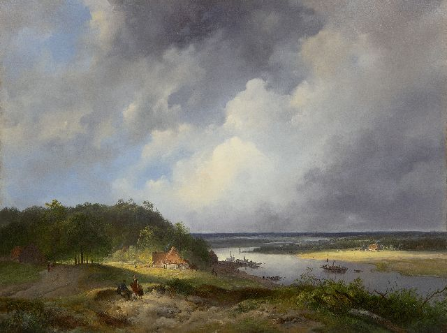 Wijnand Nuijen | An extensive river landscape, possible the river Rhine, oil on panel, 41.9 x 55.3 cm, signed l.c. (indistinctly) and dated 1831