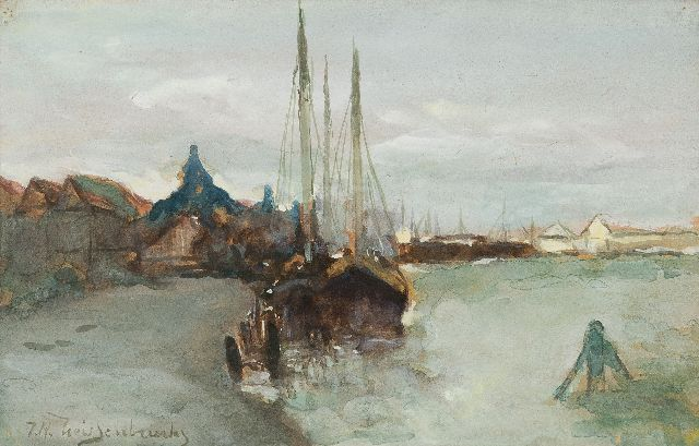 Jan Hendrik Weissenbruch | The harbour of Zaandam, watercolour on paper, 14.5 x 22.5 cm, signed l.l.