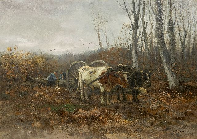 Jansen W.G.F.  | Lumbermen at work, oil on canvas 71.2 x 101.2 cm, signed l.r.