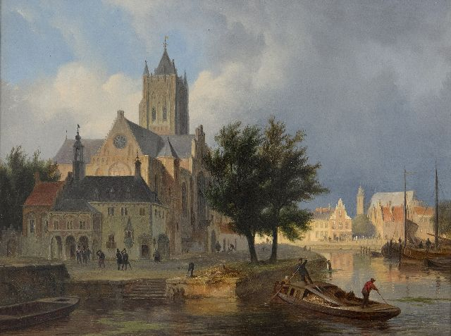 Bart van Hove | A capriccio town view, possibly Gorinchem, oil on panel, 28.8 x 38.0 cm, signed l.r.