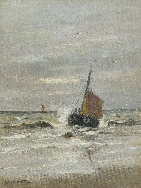 Munthe G.A.L.  | The 'KW9' leaving the beach of Katwijk, oil on canvas 40.4 x 30.8 cm, signed l.l.
