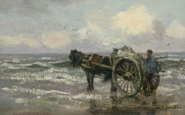 Willem George Frederik Jansen | Shell fishing along the Dutch coast, oil on canvas, 25.7 x 40.6 cm, signed l.r.