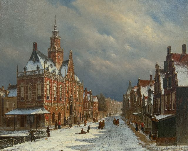 Jongh O.R. de | The townhall of Bolsward, Friesland, in wintertime, oil on canvas 69.9 x 86.0 cm, signed l.r.