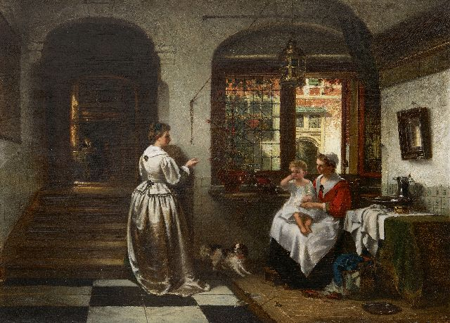 Johannes Anthonie Balthasar Stroebel | A family in a 17th century Dutch interior, oil on canvas, 46.2 x 61.6 cm, signed l.l.