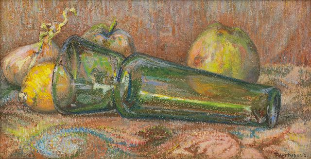 Hart Nibbrig F.  | A still life with a green glass vase and apples, pastel on paper 18.2 x 35.1 cm, signed l.r.