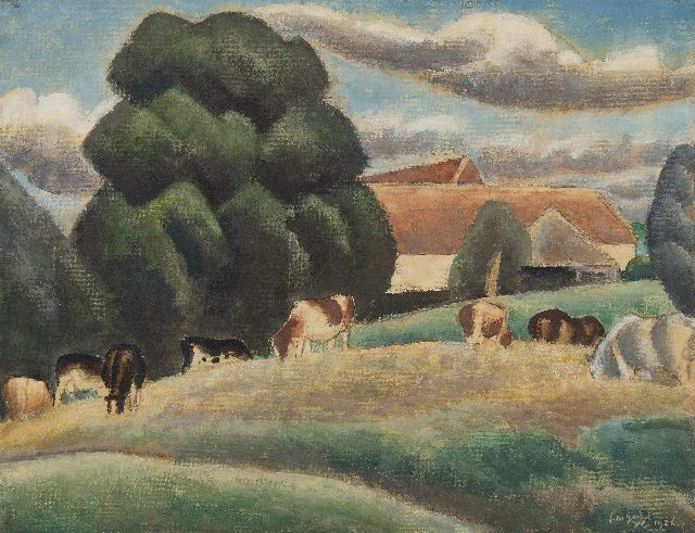 Leo Gestel | Farm and cattle near Drongen along the Leie, Flanders, watercolour and gouache on paper, 47.6 x 61.7 cm, signed l.r. and dated 'YC' 1926