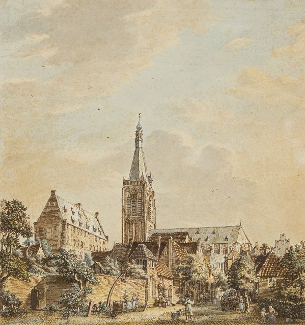 Beijer J. de | The Grote Kerk and the Klooster in Doesburg, pen, ink and watercolour on paper, 33.7 x 31.7 cm, signed on the reverse and dated on the reverse 10. August: 1772'