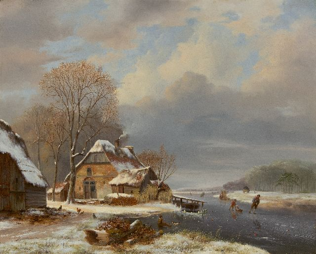 Nicolaas Johannes Roosenboom | A frozen river with skaters near a farm, oil on canvas, 71.2 x 87.7 cm, signed l.l.