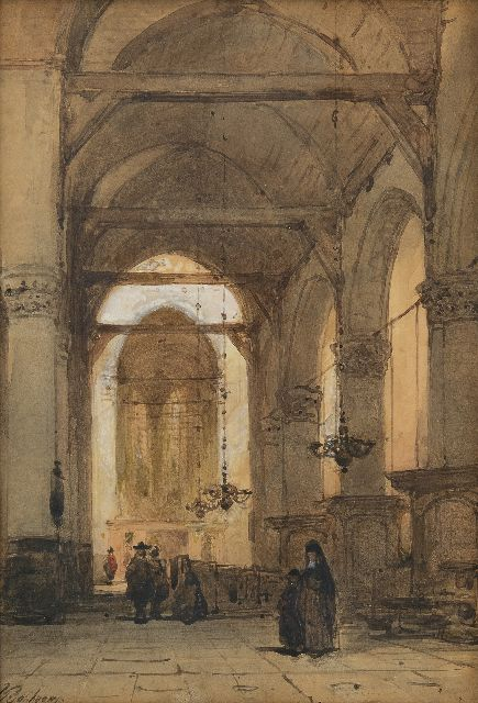 Johannes Bosboom | Figures in a church interior, watercolour on paper, 26.5 x 18.3 cm, signed l.l.