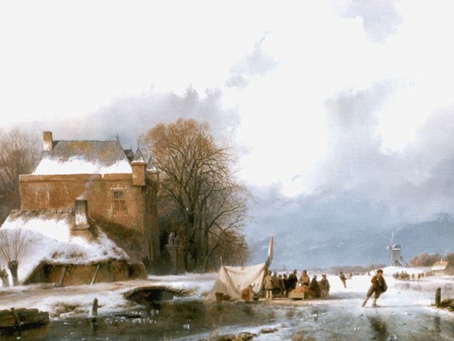 Andreas Schelfhout | Skaters and a 'koek and zopie' on a frozen river, oil on panel, 39.6 x 49.1 cm, signed l.l.