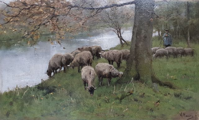 Anton Mauve | A shepherd with his flock by a river, oil on panel, 25.1 x 41.0 cm, signed l.r.