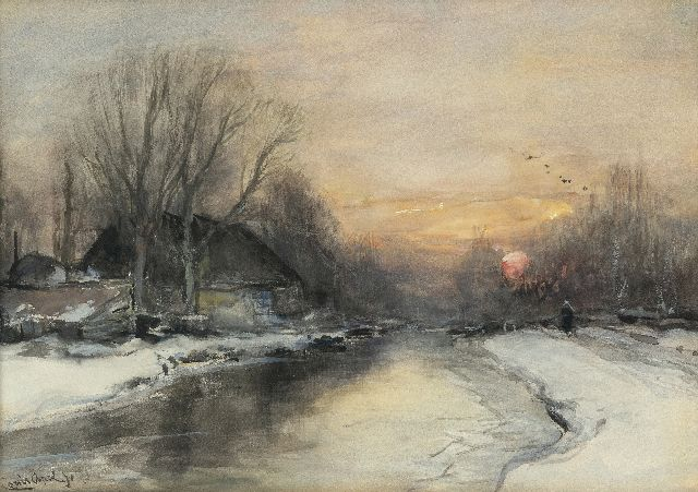 Louis Apol | A snowy riverbank at sunset, watercolour on paper, 25.3 x 35.4 cm, signed l.l.
