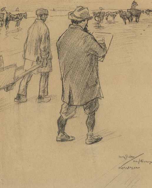Willy Sluiter | Jan Toorop sketching on the beach of Katwijk aan Zee, black chalk on paper, 32.6 x 27.0 cm, signed l.r. and executed ca. 1898