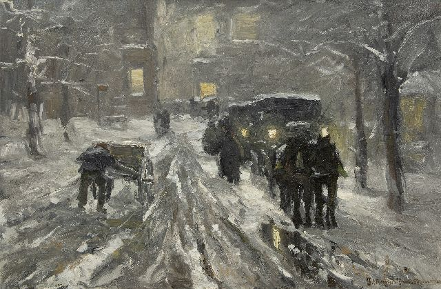 Munthe G.A.L.  | Horses and carriages in a snowy town by night, oil on canvas 66.3 x 100.7 cm, signed l.r.