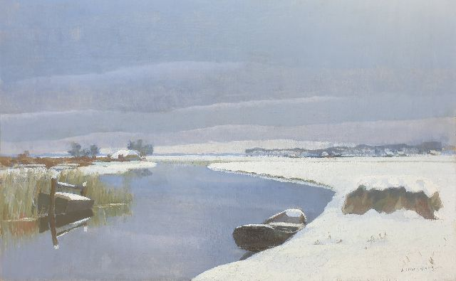 Dirk Smorenberg | A winter landscape near Loosdrecht, oil on canvas, 46.1 x 73.5 cm, signed l.r.