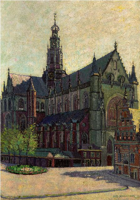 Wim Schuhmacher | The Grote or St. Bavochurch in Haarlem, oil on canvas, 82.5 x 57.4 cm, signed l.r. and dated 1915