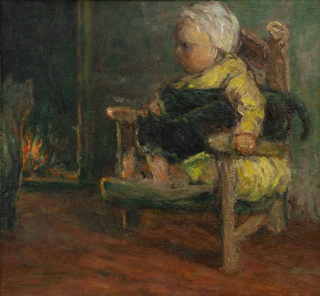 Bernard Blommers | A child and catsnear the fire, oil on canvas, 26.2 x 28.1 cm