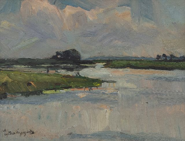 Wijngaerdt P.T. van | A polder landscape, oil on board 37.0 x 50.4 cm, signed l.l. and painted before 1907