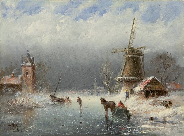 Cornelis Kuijpers | Skaters on a frozen waterway, oil on canvas, 30.5 x 39.9 cm, signed l.l. and und ca. 1890