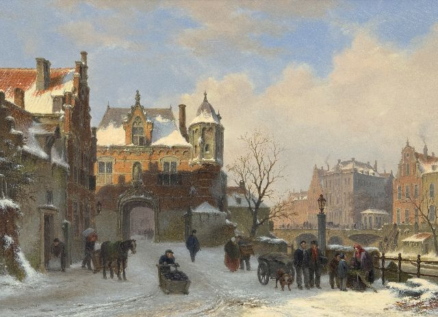 Bart van Hove | A quay and town gate in winter (pendant from A view of a town with townsfolk and shipping on a canal), oil on panel, 28.6 x 39.2 cm, signed l.l.