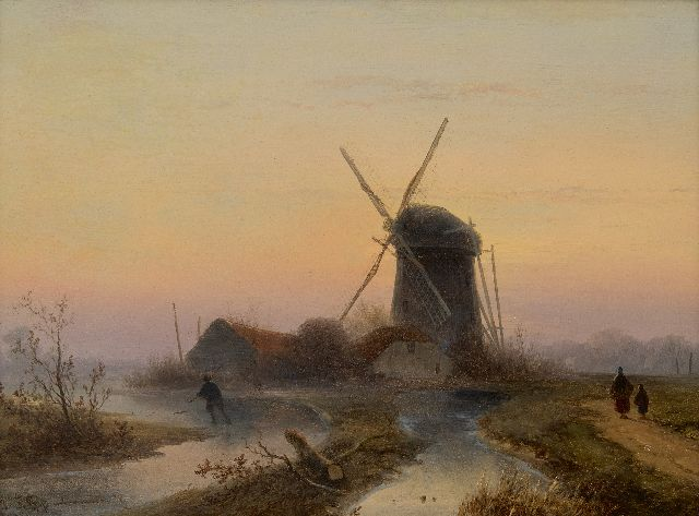 Johannes Franciscus Hoppenbrouwers | A windmill along a frozen waterway, oil on panel, 24.0 x 32.1 cm, signed l.l.