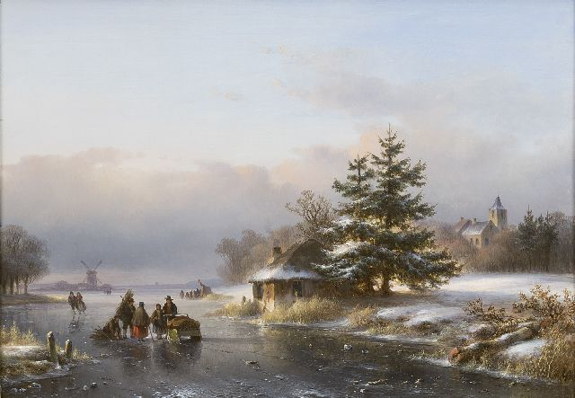 Lodewijk Johannes Kleijn | A winter landscape with figures and skaters on the ice, oil on panel, 29.6 x 40.5 cm, signed l.r.